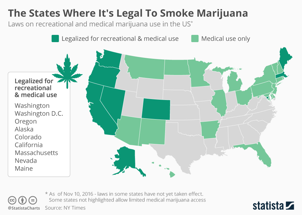 The states where it's legal to smoke marijuana map
